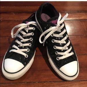 Black sequin Converse sneakers. Women 8. Men 6